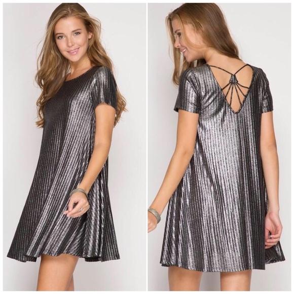 d934e3de64fc Silver Metallic Ribbed Swing Dress